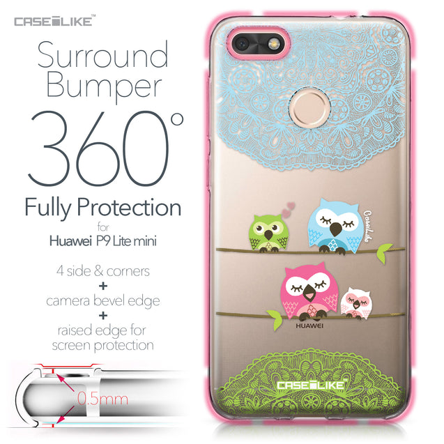 Huawei P9 Lite mini case Owl Graphic Design 3318 Bumper Case Protection | CASEiLIKE.com