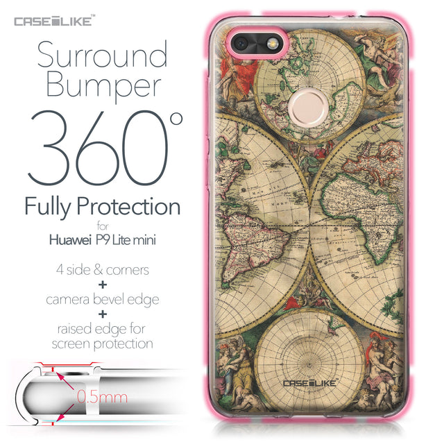 Huawei P9 Lite mini case World Map Vintage 4607 Bumper Case Protection | CASEiLIKE.com