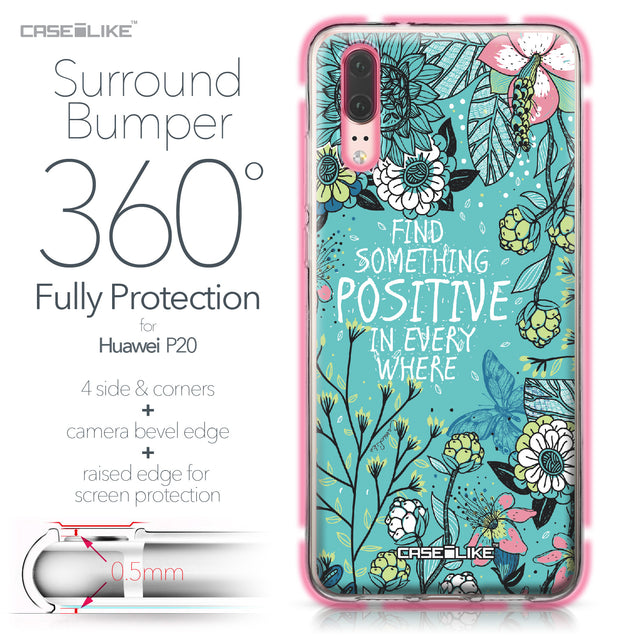 Huawei P20 case Blooming Flowers Turquoise 2249 Bumper Case Protection | CASEiLIKE.com