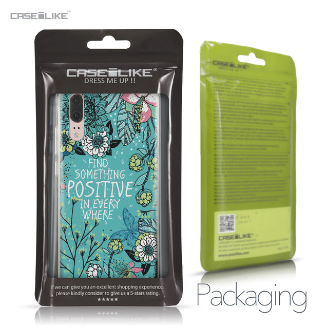 Huawei P20 case Blooming Flowers Turquoise 2249 Retail Packaging | CASEiLIKE.com