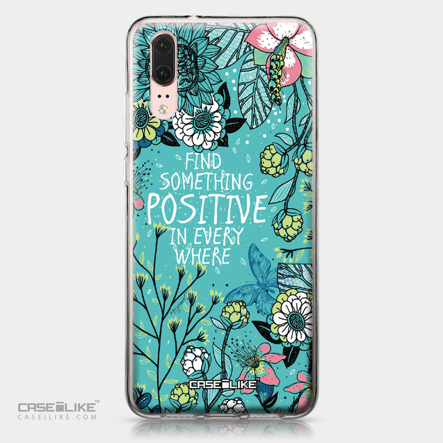 Huawei P20 case Blooming Flowers Turquoise 2249 | CASEiLIKE.com