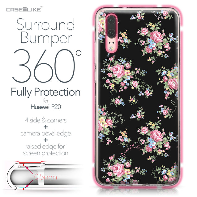 Huawei P20 case Floral Rose Classic 2261 Bumper Case Protection | CASEiLIKE.com