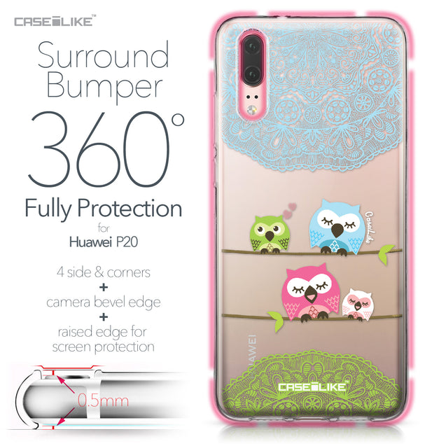 Huawei P20 case Owl Graphic Design 3318 Bumper Case Protection | CASEiLIKE.com