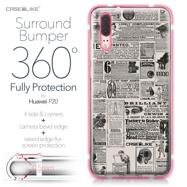 Huawei P20 case Vintage Newspaper Advertising 4818 Bumper Case Protection | CASEiLIKE.com