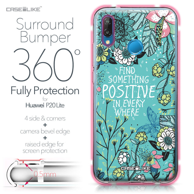 Huawei P20 Lite case Blooming Flowers Turquoise 2249 Bumper Case Protection | CASEiLIKE.com