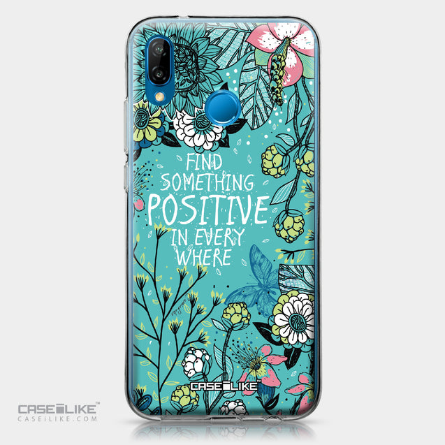 Huawei P20 Lite case Blooming Flowers Turquoise 2249 | CASEiLIKE.com