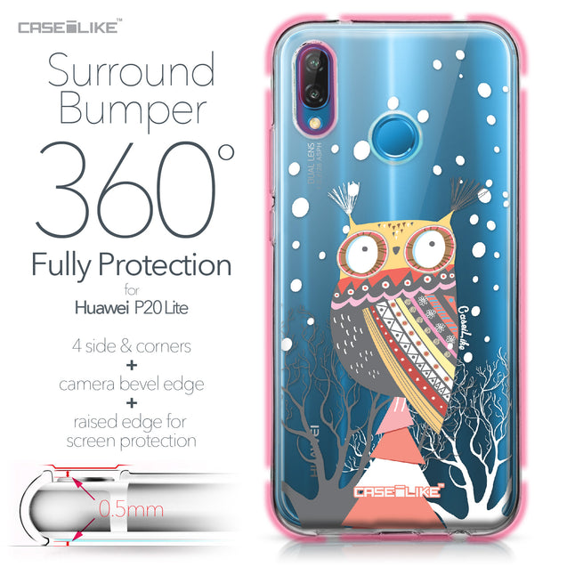 Huawei P20 Lite case Owl Graphic Design 3317 Bumper Case Protection | CASEiLIKE.com