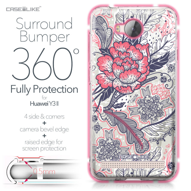 Huawei Y3 II case Vintage Roses and Feathers Beige 2251 Bumper Case Protection | CASEiLIKE.com