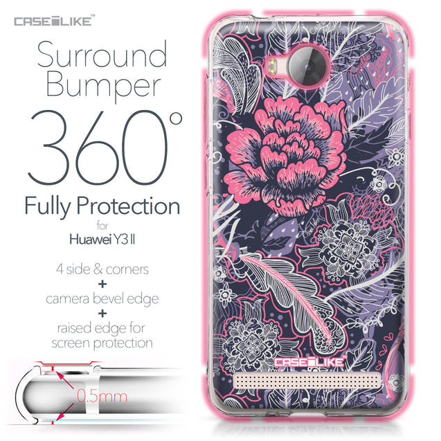 Huawei Y3 II case Vintage Roses and Feathers Blue 2252 Bumper Case Protection | CASEiLIKE.com