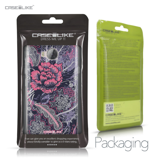 Huawei Y3 II case Vintage Roses and Feathers Blue 2252 Retail Packaging | CASEiLIKE.com