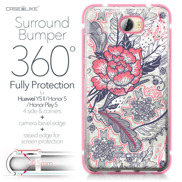 Huawei Y5 II / Y5 2 / Honor 5 / Honor Play 5 / Honor 5 Play case Vintage Roses and Feathers Beige 2251 Bumper Case Protection | CASEiLIKE.com