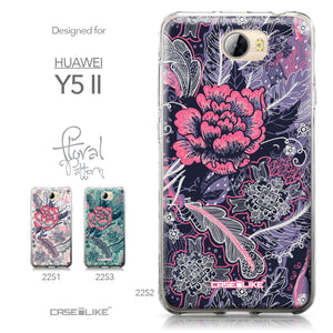 Huawei Y5 II / Y5 2 / Honor 5 / Honor Play 5 / Honor 5 Play case Vintage Roses and Feathers Blue 2252 Collection | CASEiLIKE.com