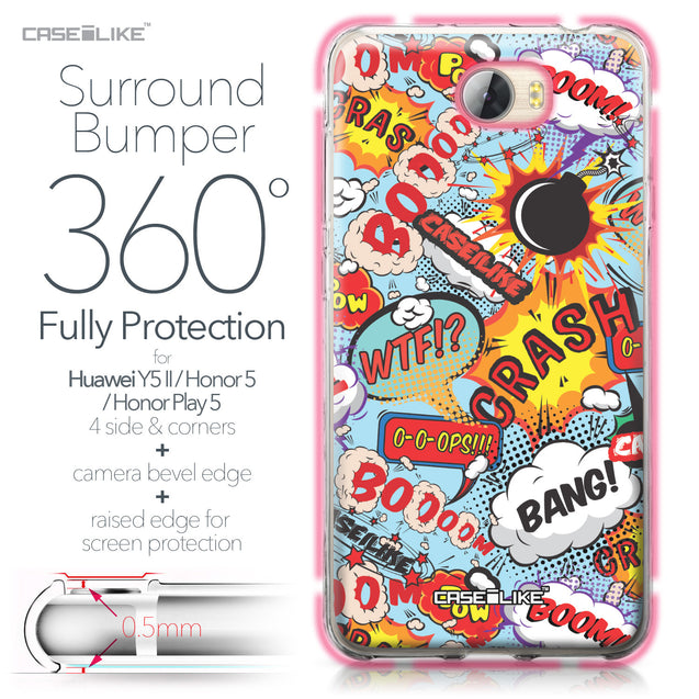 Huawei Y5 II / Y5 2 / Honor 5 / Honor Play 5 / Honor 5 Play case Comic Captions Blue 2913 Bumper Case Protection | CASEiLIKE.com