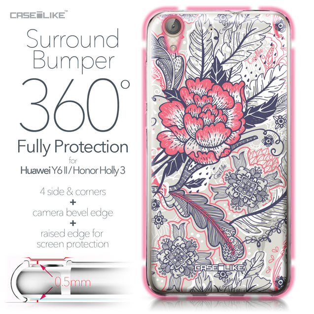 Huawei Y6 II / Honor Holly 3 case Vintage Roses and Feathers Beige 2251 Bumper Case Protection | CASEiLIKE.com