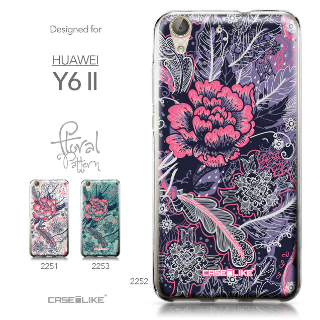 Huawei Y6 II / Honor Holly 3 case Vintage Roses and Feathers Blue 2252 Collection | CASEiLIKE.com