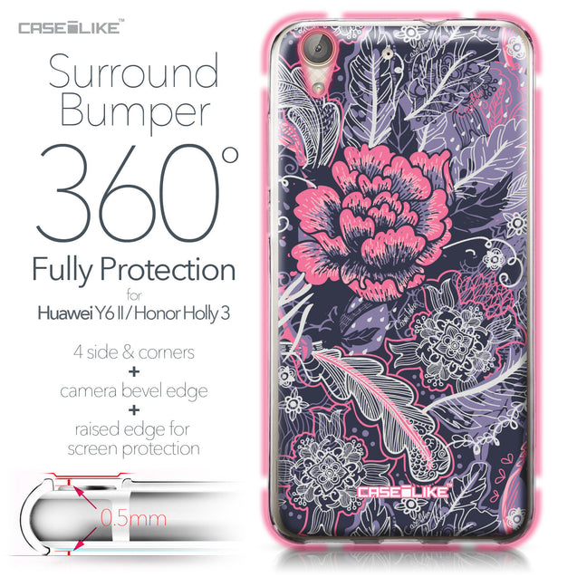 Huawei Y6 II / Honor Holly 3 case Vintage Roses and Feathers Blue 2252 Bumper Case Protection | CASEiLIKE.com