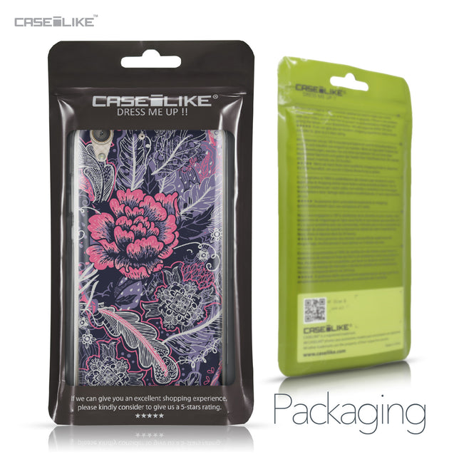 Huawei Y6 II / Honor Holly 3 case Vintage Roses and Feathers Blue 2252 Retail Packaging | CASEiLIKE.com