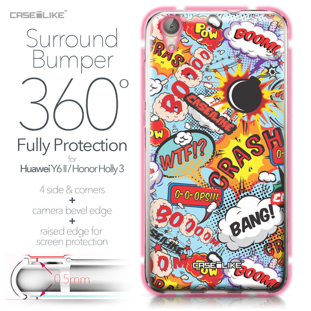 Huawei Y6 II / Honor Holly 3 case Comic Captions Blue 2913 Bumper Case Protection | CASEiLIKE.com