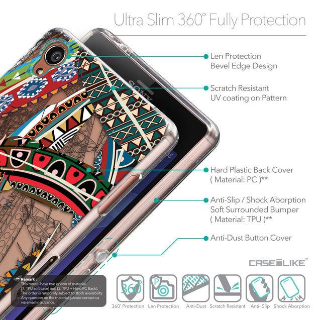 Details in English - CASEiLIKE Sony Xperia Z3 back cover Indian Tribal Theme Pattern 2055