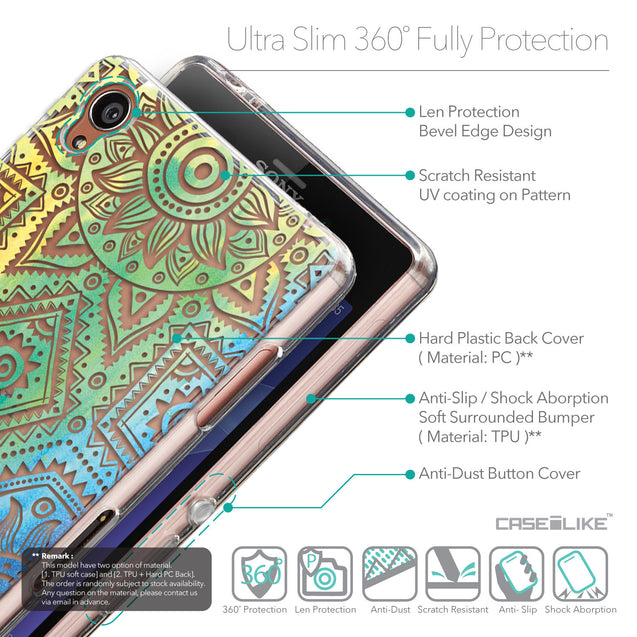 Details in English - CASEiLIKE Sony Xperia Z3 back cover Indian Line Art 2064