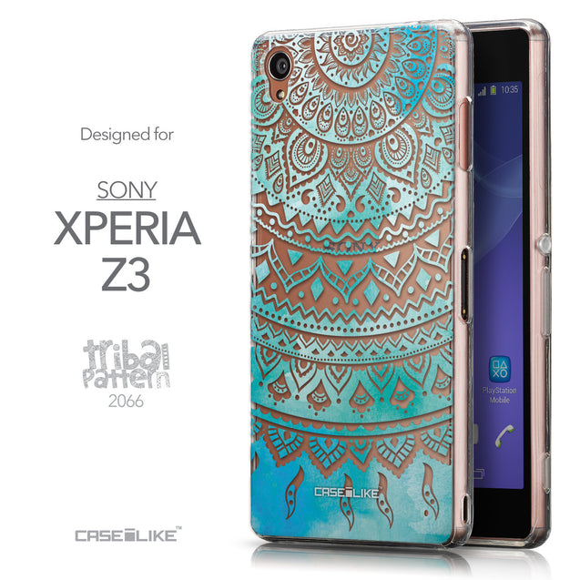 Front & Side View - CASEiLIKE Sony Xperia Z3 back cover Indian Line Art 2066