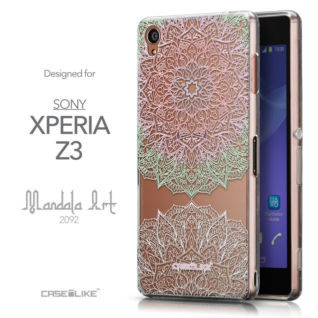Front & Side View - CASEiLIKE Sony Xperia Z3 back cover Mandala Art 2092