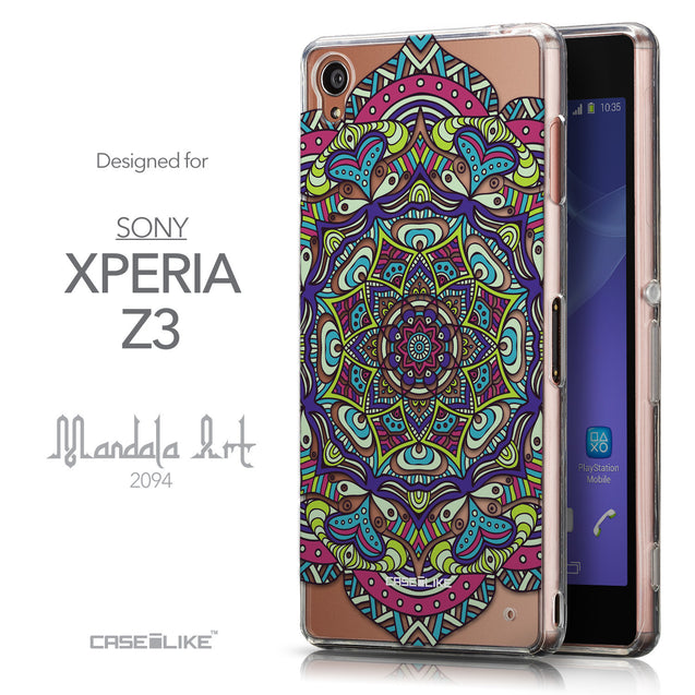 Front & Side View - CASEiLIKE Sony Xperia Z3 back cover Mandala Art 2094