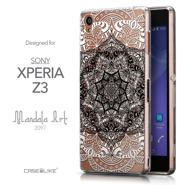 Front & Side View - CASEiLIKE Sony Xperia Z3 back cover Mandala Art 2097