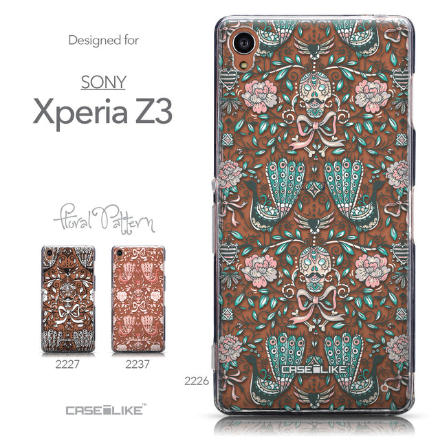 Collection - CASEiLIKE Sony Xperia Z3 back cover Roses Ornamental Skulls Peacocks 2226