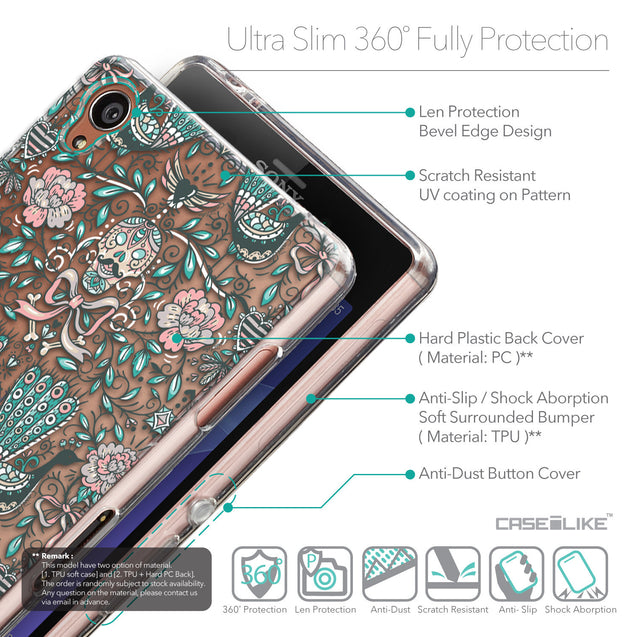 Details in English - CASEiLIKE Sony Xperia Z3 back cover Roses Ornamental Skulls Peacocks 2226
