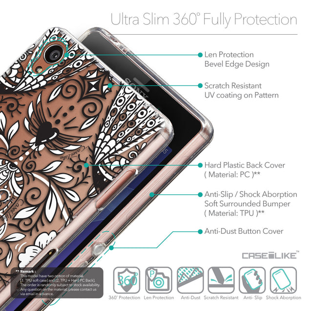 Details in English - CASEiLIKE Sony Xperia Z3 back cover Roses Ornamental Skulls Peacocks 2227