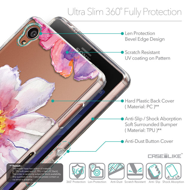 Details in English - CASEiLIKE Sony Xperia Z3 back cover Watercolor Floral 2231