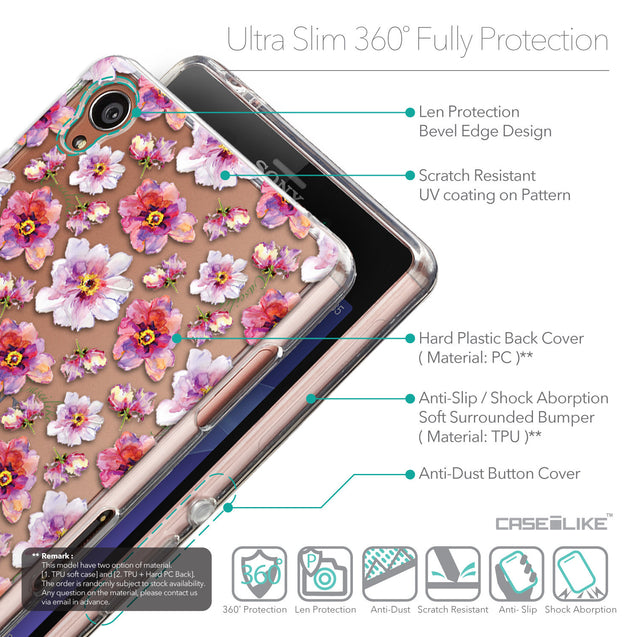 Details in English - CASEiLIKE Sony Xperia Z3 back cover Watercolor Floral 2232