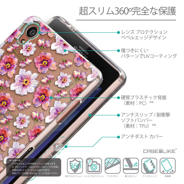 Details in Japanese - CASEiLIKE Sony Xperia Z3 back cover Watercolor Floral 2232