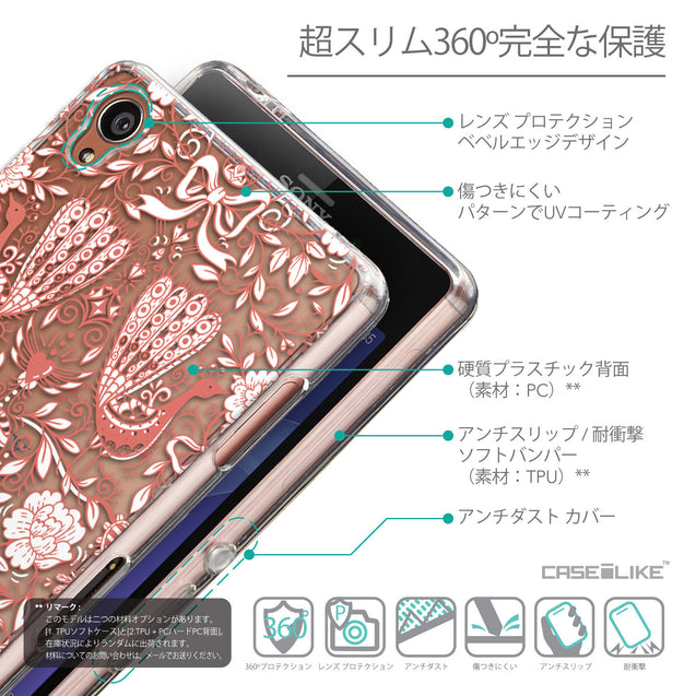 Details in Japanese - CASEiLIKE Sony Xperia Z3 back cover Roses Ornamental Skulls Peacocks 2237