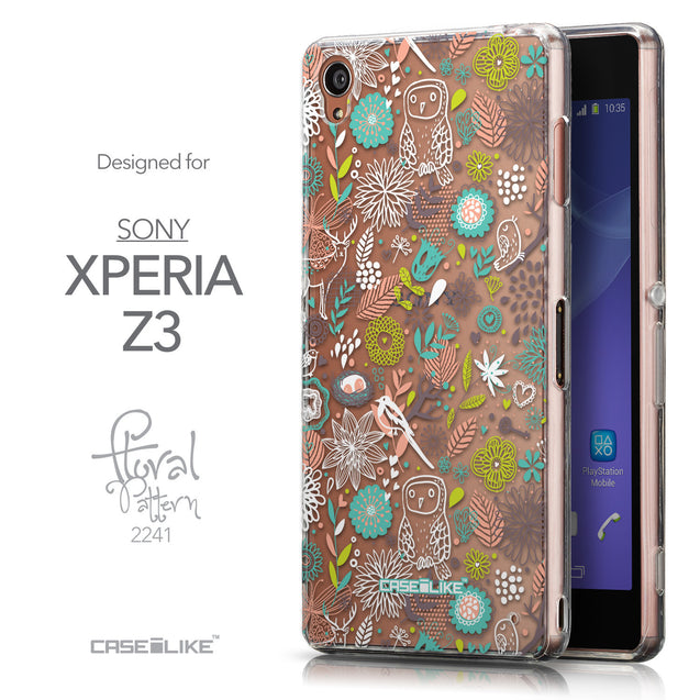 Front & Side View - CASEiLIKE Sony Xperia Z3 back cover Spring Forest White 2241