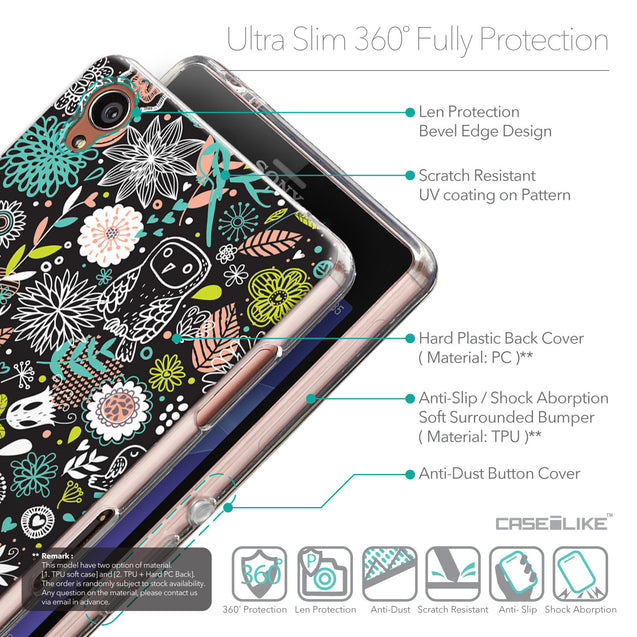 Details in English - CASEiLIKE Sony Xperia Z3 back cover Spring Forest Black 2244