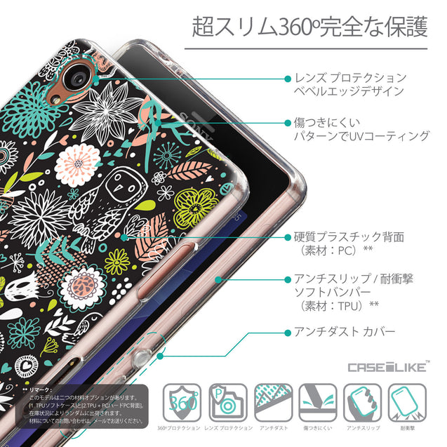 Details in Japanese - CASEiLIKE Sony Xperia Z3 back cover Spring Forest Black 2244