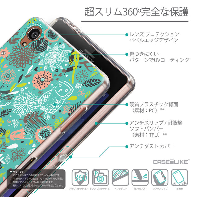 Details in Japanese - CASEiLIKE Sony Xperia Z3 back cover Spring Forest Turquoise 2245