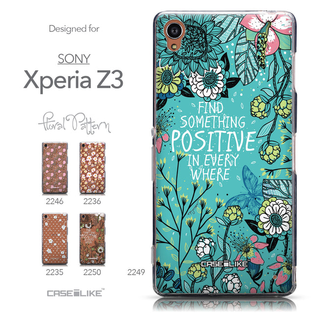 Collection - CASEiLIKE Sony Xperia Z3 back cover Blooming Flowers Turquoise 2249