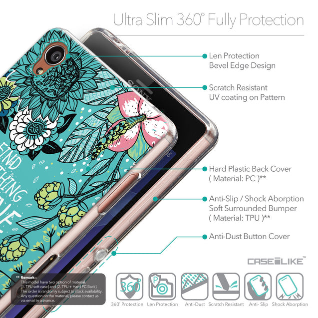Details in English - CASEiLIKE Sony Xperia Z3 back cover Blooming Flowers Turquoise 2249