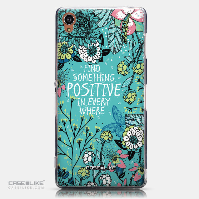 CASEiLIKE Sony Xperia Z3 back cover Blooming Flowers Turquoise 2249