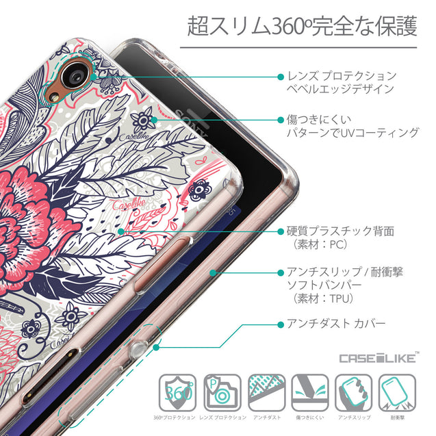 Details in Japanese - CASEiLIKE Sony Xperia Z3 back cover Vintage Roses and Feathers Beige 2251