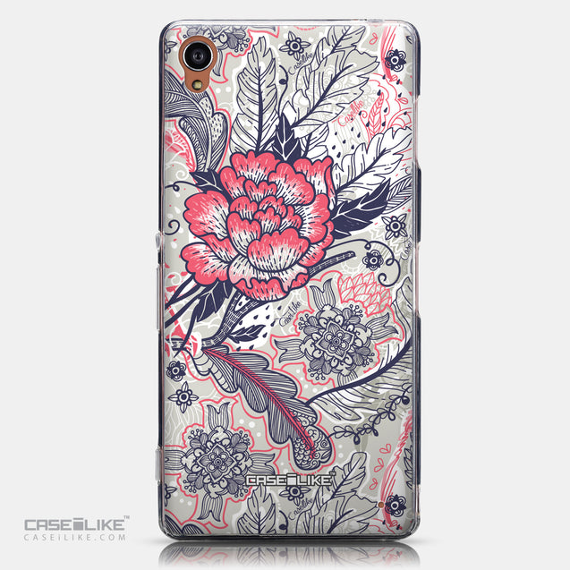 CASEiLIKE Sony Xperia Z3 back cover Vintage Roses and Feathers Beige 2251