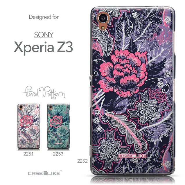Collection - CASEiLIKE Sony Xperia Z3 back cover Vintage Roses and Feathers Blue 2252