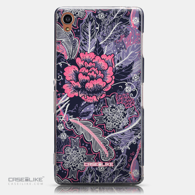 CASEiLIKE Sony Xperia Z3 back cover Vintage Roses and Feathers Blue 2252