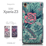 Collection - CASEiLIKE Sony Xperia Z3 back cover Vintage Roses and Feathers Turquoise 2253