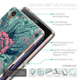 Details in English - CASEiLIKE Sony Xperia Z3 back cover Vintage Roses and Feathers Turquoise 2253
