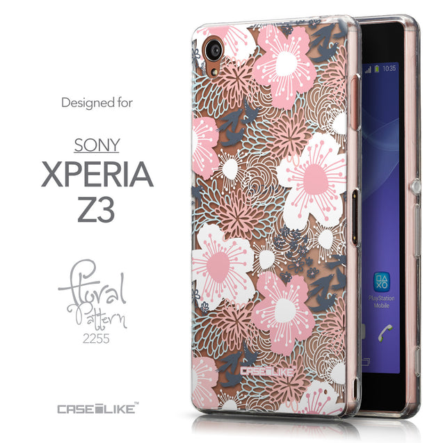 Front & Side View - CASEiLIKE Sony Xperia Z3 back cover Japanese Floral 2255
