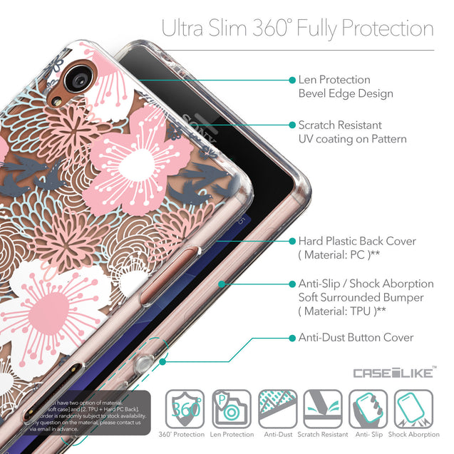 Details in English - CASEiLIKE Sony Xperia Z3 back cover Japanese Floral 2255
